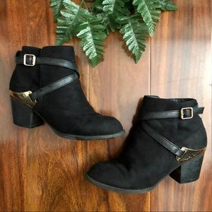 Black Suede Booties (Size 6)